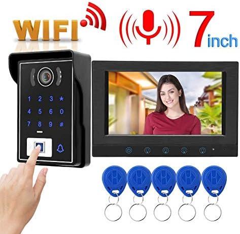ドアベル、7インチ有線WifiビデオインターホンドアベルIR指紋カードパスワードドアベルシステム(英国プラグ)