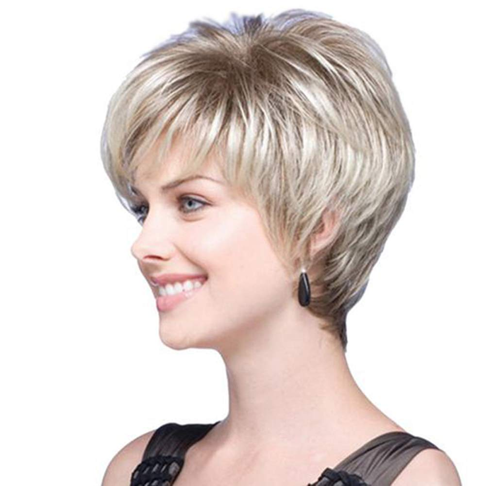 Amazon.com: DANTB Short Curly Wigs for Women -Brown Bob Wigs with Bangs Heat Resistant Synthetic Fiber Hair Full Wigs Natural Looking Fashion Hair with Free ...