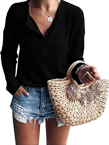 - Womens Henley Shirts V Neck Long Sleeve Button Down Waffle Knit Tunic Tops Tee Black