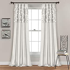 """Lush Decor White Circle Dream Window Curtains Panel Set for Living, Dining  Room, Bedroom (Pair), 84"""" x 54"""