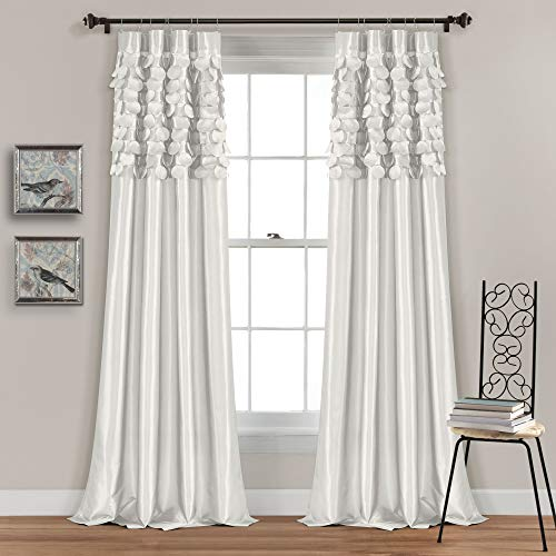 Lush Decor White Circle Dream Window Curtains Panel Set for Living, Dining Room, Bedroom (Pair), 84