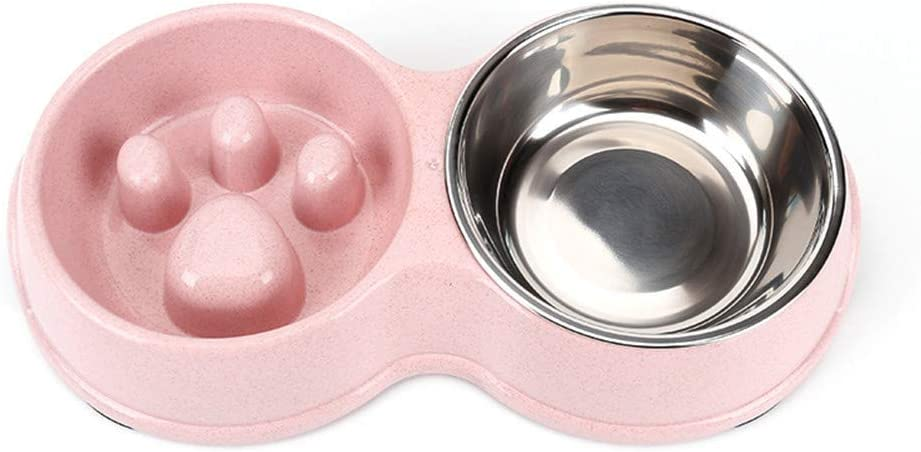 Tineer Double Pet Dog Slow Feeder Bowl,Stainless Steel Anti-Choke Puppy Food and Water Feeder for Dog Cats (Pink)