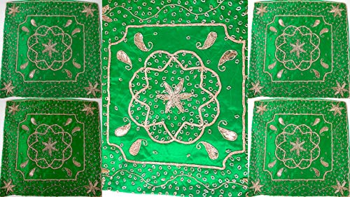 Yapree 4 Wholesale LOT Handmade Sari ZARI Silk Pillow Covers : Set of 4 Green and Gold