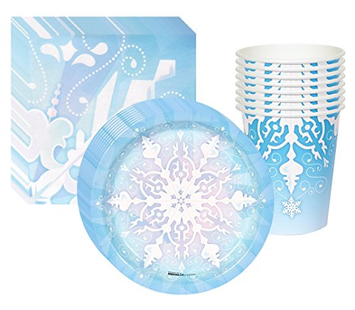 Snowflake Winter Wonderland Party Kit Including Plates, Cups and Napkins - 8 Guests