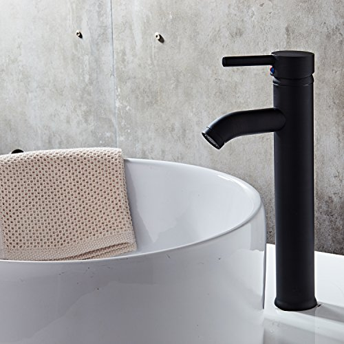 BATHJOY Single Handle Contemporary Bathroom Vanity Vessel Sink Faucet Tall Spout Deck Mount Mixer Taps Stainless Steel Single Hole Faucet, - Black Contemporary Vanity