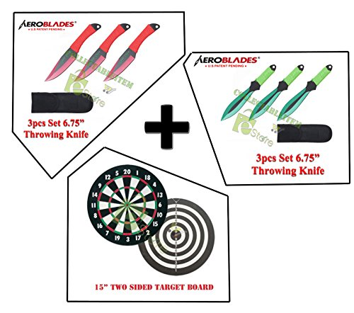 "Practice Combo 2 Set of 3pc Throwing knives & Full 15"" double Size Target board"
