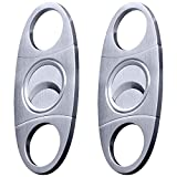 Cigar Cutters 2pcs/Pack, maxin Stainless Steel Super Sharp Guillotine Cutter with Double Blades Perfect for Robustos and Churchill Cigars.
