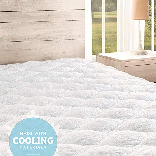 eLuxurySupply Cooling Mattress Pad with Fitted Skirt - Extra Plush Cool-to-The-Touch Topper - Made in The USA, King