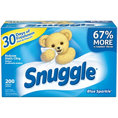 Snuggle Fabric Softener Dryer Sheets, Blue Sparkle, 200 Count - Pack of 6 by Snuggle E