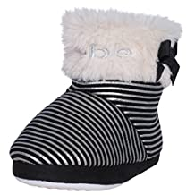 Bebe Toddler Girls Slipper Boots with Metallic Stripes & Bebe Lurex Embroidery
