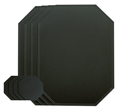 Nikalaz Black Octagon Set of Placemats and Glass coasters, 4 table mats and 4 coasters, place mats 15.75'' x 11.81'' and coasters 3.94'' x 3.94'', Recycled leather (Black (Leather 4 Coaster Set)