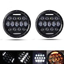 AUSI Pair 7 Inch Round Led Headlight Hi/lo Beam with White DRL/ Amber Turn Signal for Jeep Wrangler JK TJ LJ CJ Hummer H1&H2 Dodge Eagle Ford