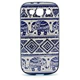 Multi Pattern Colorful Combo Style for Samsung Galaxy S3 I9300 Soft TPU Cover and Plastic PC Bumper Combine Combo Mix Material Case Bag Pattern Print Printing Drawing Cell Phone Case mobile Cover Soft Protect Skin (Blue baby elephant)