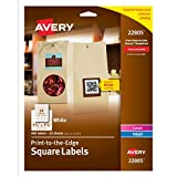 Avery Permanent Square Label, White, Inkjet/Laser 1.5 x 1.5-Inches, Pack of 600, Use for QR Codes and Branding Your Packaging (22805)