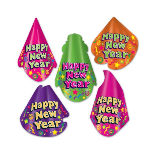 [Beistle 80101-50 Color-Brite Hat Assortment, 50 Hats Per Package] (Happy New Year Boppers)