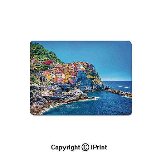 (Oversized Mouse Pad,Mediterranean Sea European Style Traditional Italian Design Cliff Coastline View Mountains Gaming Keyboard Pad,9.8x11.8 inch Non-Slip Office Computer Desk Mat,)