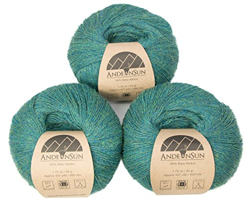 100% Baby Alpaca Yarn (Weight #1) LACE - Set of 3 Skeins 150 Grams Total- Luxurious and Caring Soft for Knitting, Crocheting and Any lace Weight Project – Green Jade Heather -