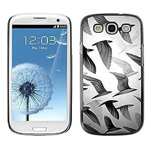 FECELL CITY // Duro Aluminio Pegatina PC Caso decorativo Funda Carcasa de Protección para Samsung Galaxy S3 I9300 // Seagulls Black White Deep Art