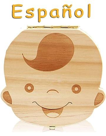 Lomire Caja de Almacenamiento de Dientes de Leche en Español, Organizador Recuerdo de la Caja