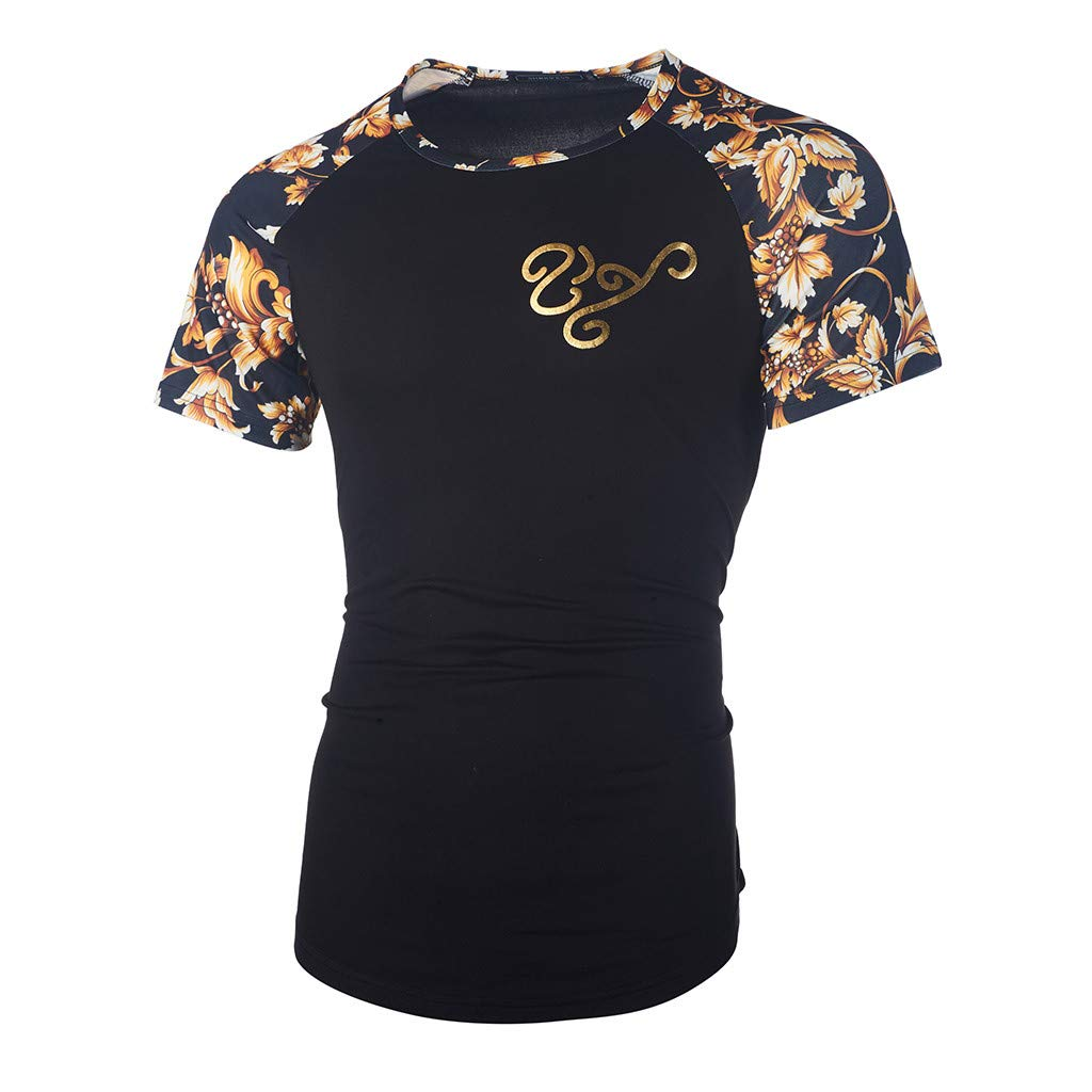 aiNMkm Summer T-Shirts for Men,Fashion Men's Casual Slim Printed Patchwork Short Sleeve T Shirt Top Blouse,Black,XL