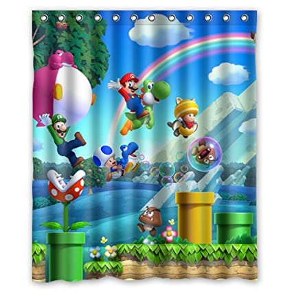 Happy Super Mario Bros Custom Polyester Shower Curtain 60 X 72 Inch Bathroom Amazoncouk Kitchen Home