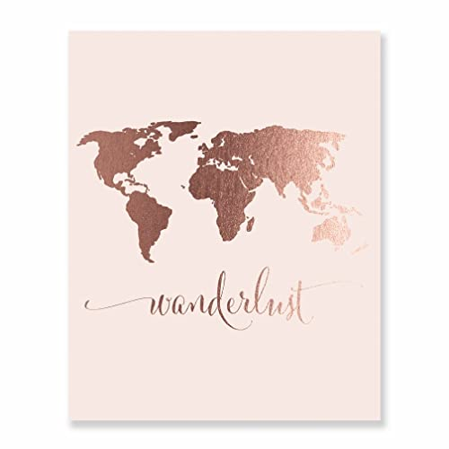 Amazon wanderlust world map rose gold foil pink art print wanderlust world map rose gold foil pink art print travel world traveler pink poster modern art gumiabroncs Images