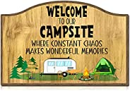 """SICOHOME Funny Camping Signs,8"""" X 12"""" Welcome to Our Campsite Sign,Camping Decor for Camper,Personal"""