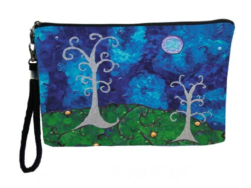 Whimsical Trees Large Vegan Wristlet, Pencil Bag, Cosmetic