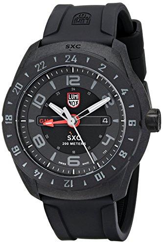 - Luminox Men's 5021.GN SXC PC Carbon GMT Analog Display Quartz Black Watch