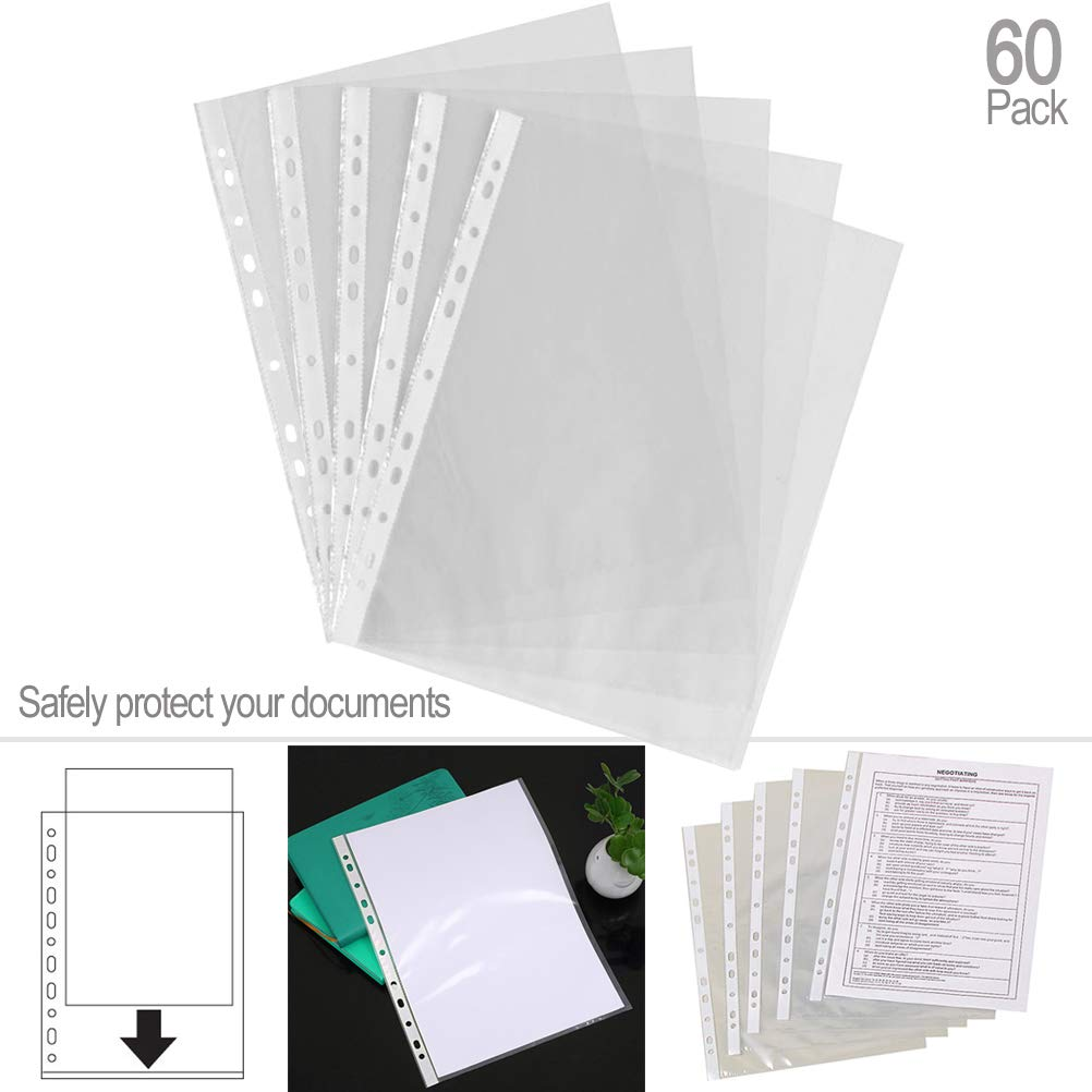 Filing Storing Document Folder A4 Clear Punch Pockets 60 Pack