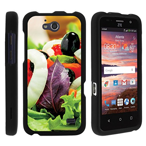 Overture Salad - TurtleArmor | Compatible for ZTE Overture 2 Case | ZTE Atrium | ZTE Scend [Slim Duo] Hard Lightweight PC Plastic Rubberized 2 Piece Cover Shell on Black Food Image Set - Fresh Salad