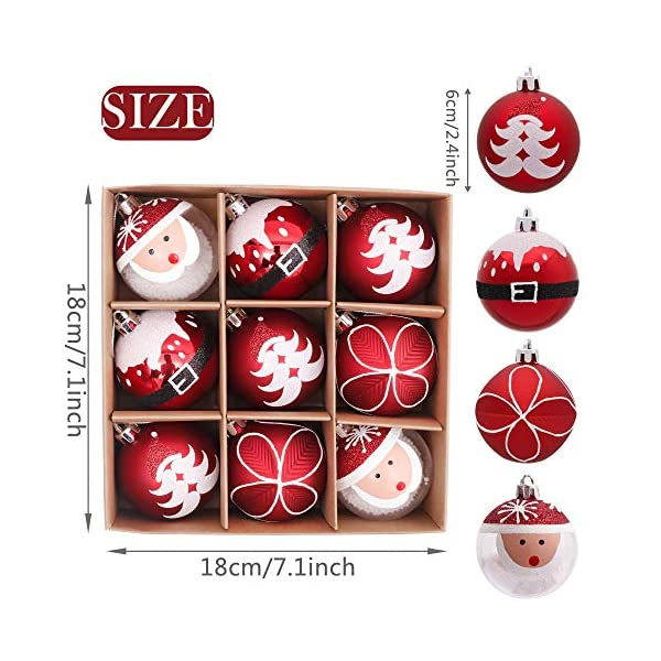 Valery Madelyn Palle di Natale 9 Pezzi 6cm Addobbi Natalizi, Traditional Red And White Shatterproof Christmas Ball Ornaments Decoration for Christmas Tree Decor 2 spesavip