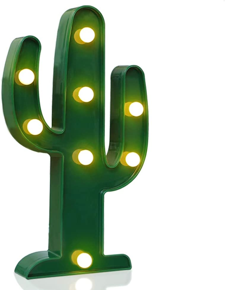 Novelty Place Designer Cactus Marquee Sign Lights, Warm White LED Lamp Tropical Green - Living Room, Bedroom Table & Wall Christmas Decoration for Kids & Adults - Battery Powered 10 Inches High