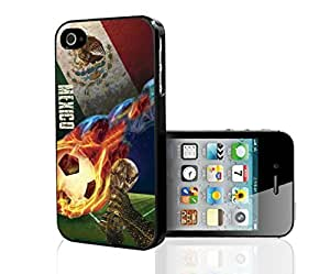Green, White, and Red Mexico Soccer Flag with Colorful Fiery Soccer Ball Fan Art Hard Snap on Phone Case (iPhone 5/5s)