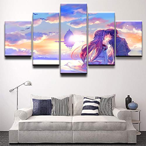 HENANFSLY Home Decor Hd Prints Painting 5 Panel Sword Art Online Pictures Wall Art Modular Canvas Anime Poster Modern Bedside Background ()