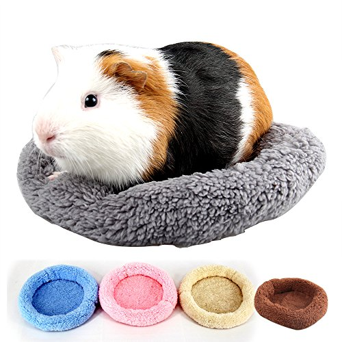 (MYIDEA Hamster Bed, Round Velvet Warm Sleep Mat Pad for Hamster/Hedgehog/Squirrel/Mice/Rats/Mini Dutch Pig/Chinchilla Cushion (L, Round - Gray Green))