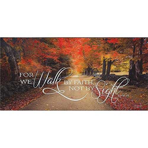 Walk By Faith Not By Sight Autumn Leaves 17 x 8 Inch Wood Wall Hanging Plock Plaque (Leaves Plaques Wall)