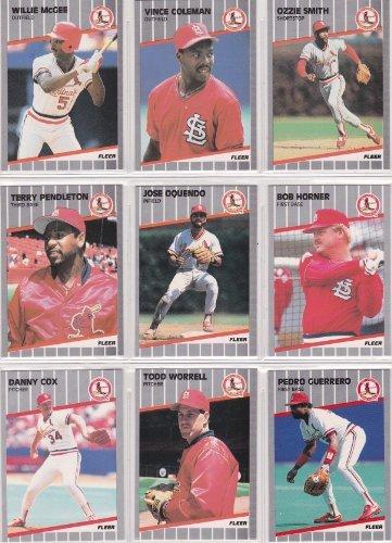 St Louis Cardinals 1989 Fleer Baseball Team Set **443 - Luis Alicea RC 444 - Tom Brunansky 445 - Vince Coleman 446 - John Costello 447 - Danny Cox 448 - Tom Ford Dallas