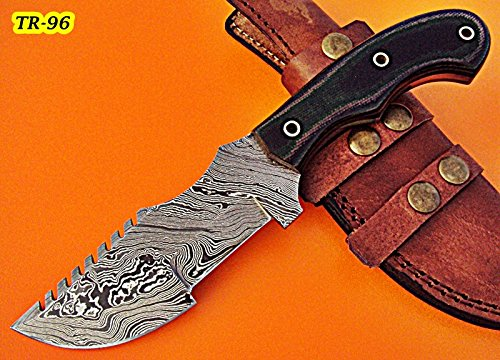 TR-96, CUSTOM HANDMADE DEMASCUS TRACKER KNIFE - TWO TONE JEAN MICARTA