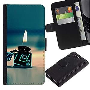 All Phone Most Case / Oferta Especial Cáscara Funda de cuero Monedero Cubierta de proteccion Caso / Wallet Case for Sony Xperia Z1 Compact D5503 // Gas Poker Gambling Flame Beach