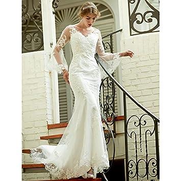 kekafu Trompeta / SIRENA V-cuello Tribunal tren vestido de novia de encaje con apliques