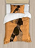Ambesonne African Woman Duvet Cover Set Twin Size, Indigenous People of Africa Theme Local Woman in Traditional Turban and Dress, Decorative 2 Piece Bedding Set with 1 Pillow Sham, Multicolor