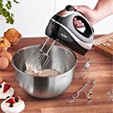 VonShef BLACK 250W Hand Mixer Whisk With Chrome Beater, Dough Hook, 5 Speed and Turbo Button + Balloon Whisk
