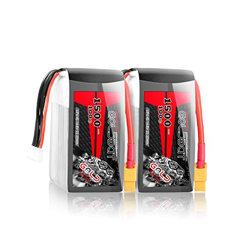GOLDBAT 14.8V 1500mAh 100C 4S RC Lipo Battery Packs Mini Battery with XT60 Connector for RC Airplane RC Helicopter RC Car RC Truck RC Boat UAV Drone FPV (2 Packs)