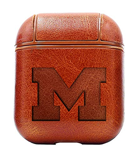 Leather Michigan Brown - University UM U M University of Michigan (Vintage Brown) Air Pods Protective Leather Case Cover - a New Class of Luxury to Your AirPods - Premium PU Leather and Handmade exquisitely