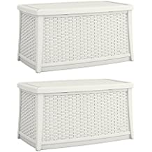 Suncast Elements 30 Gallon Outdoor Deck Patio Resin Wicker Coffee Table (2 Pack)
