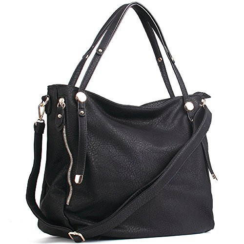 WISHESGEM Women Handbags Tote Shoulder Bags Satchel Zipper PU Leather Cross Body Bags A-Black by WISHESGEM