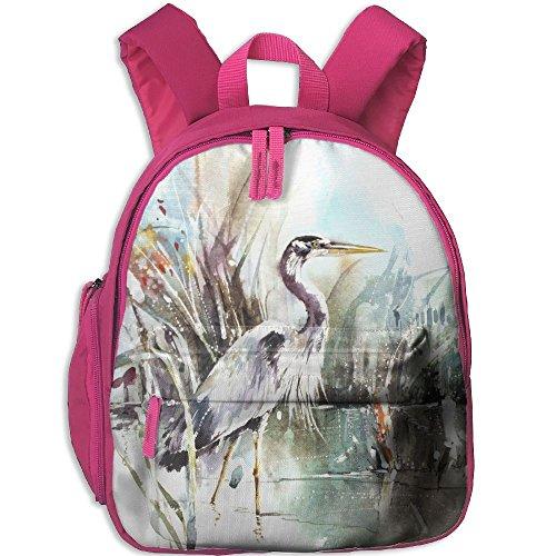 Birds Storks Animals Painting Art Hot Sale Child Shoulder School Bag School Backpack Satchel For Teens Boys Girls Students Pink