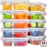 Food Storage Containers with Lids - Divided Lunch Containers (24 Ounce, 10 Pack) Plastic Food Containers with Lids Meal...