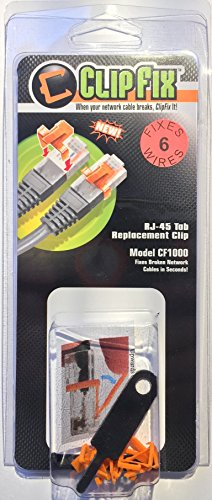 ClipFix RJ45 Connector Repair Clips 6 Pack (Snaps in Place, No Tools Required!)